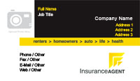 Black and Yellow Insurance Agent Business Card Template
